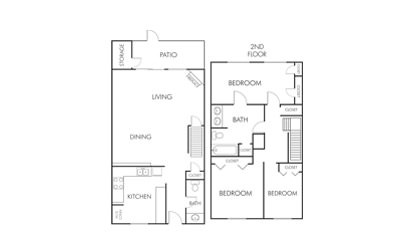 C1 - 3 bedroom floorplan layout with 1.5 bath and 1465 square feet