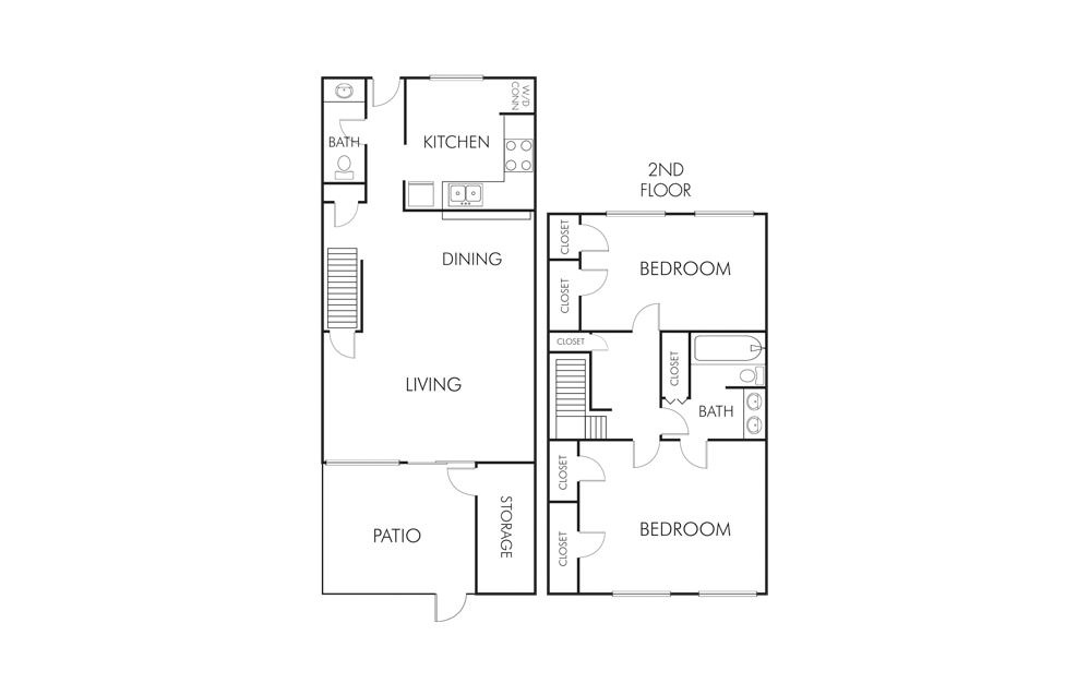 B1 - 2 bedroom floorplan layout with 1.5 bath and 1245 square feet (1st floor 2D)
