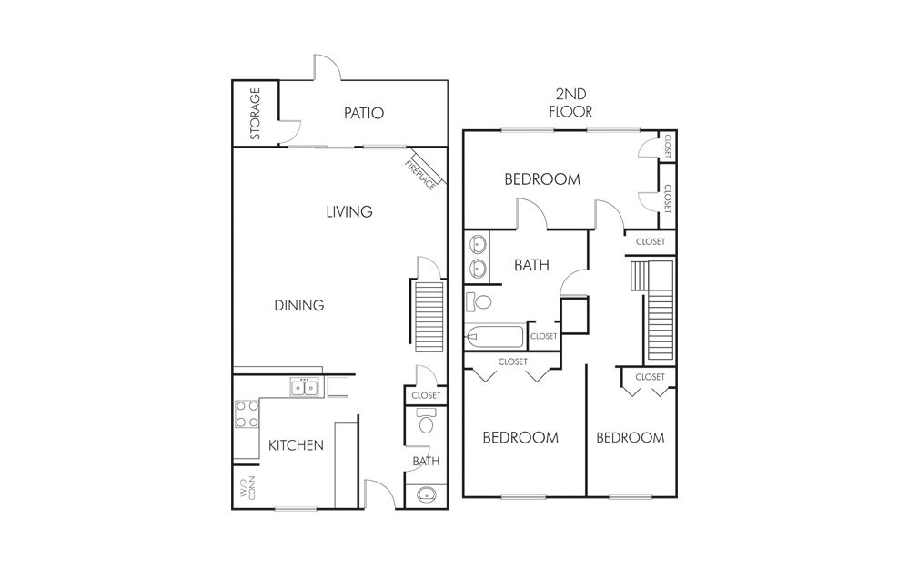 C1 - 3 bedroom floorplan layout with 1.5 bath and 1465 square feet (1st floor 2D)